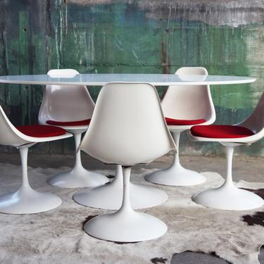 Oval Dining Table + 5 Chairs SET Mid Century Mod Vintage Swivel Tulip Chairs attributed to Knoll Saarinen MCM Danish Scandinavian eames era by CatchMyDriftVintage
