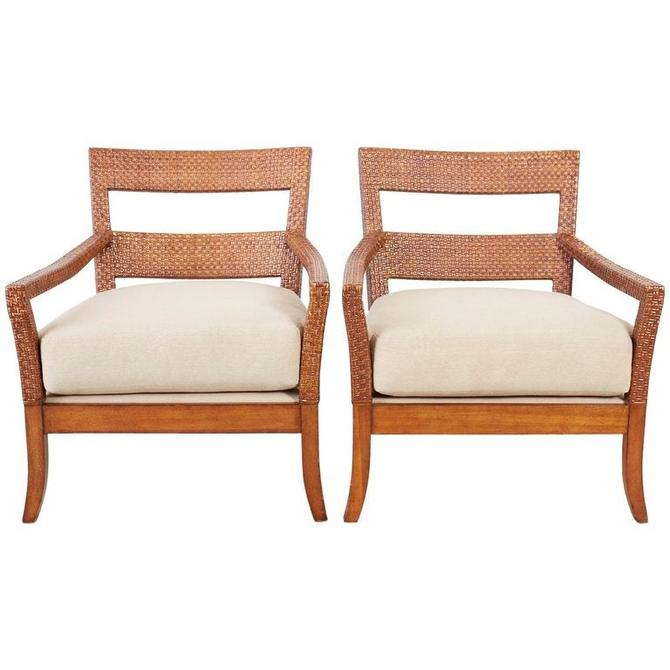 Pair of Billy Baldwin Style Rattan Wrapped Lounge Chairs by ErinLaneEstate