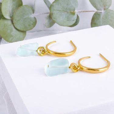 Clearance SALE, Gold Gemstone Hoop Earring, Gold Dangle Earring, Dangle Earring, Genstone Drop Earrings,  Raw Gemstone Hoop by OrlySegal