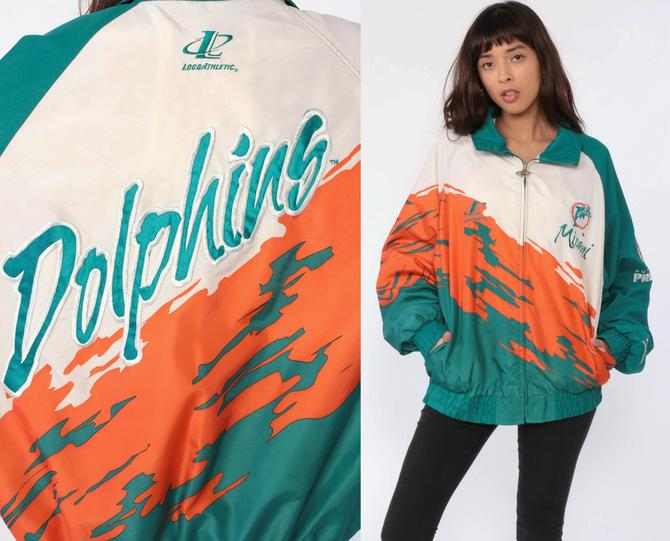 more photos 87cc2 f7627 Miami Dolphins Jacket Proline Jacket NFL Jacket 90s Streetwear Jacket  Football Sports Vintage Florida Retro Extra Large xl l by ShopExile