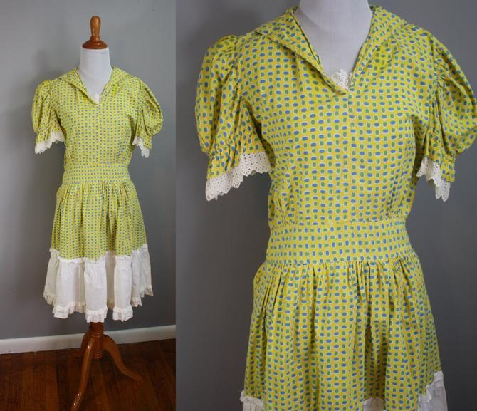 50's Dress // Square Dance Style with Eyelet Detail // Small by LawrenceOfBaltimore