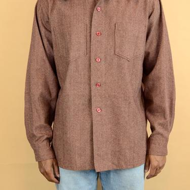 Vintage 70s Wool Shirt Jacket Overshirt Brown Red XL Large Oversize by MAWSUPPLY