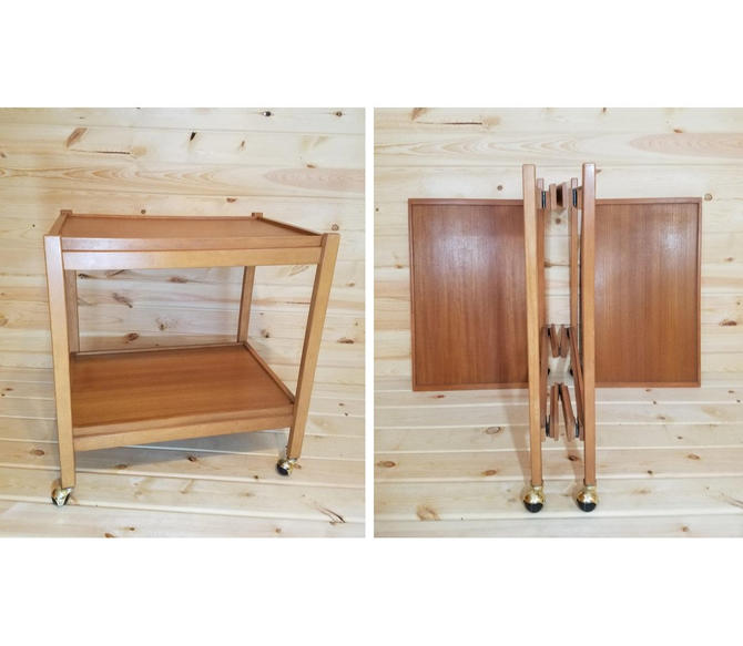 Mid Century Collapsing/Folding Dolphin Teakwood Bar Serving Cart from Thailand by RedsRustyRelics
