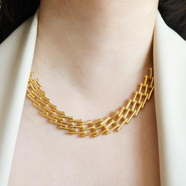 Lucy gold statement necklace, gold chain necklace, chain link necklace, wide flat necklace, gold flat necklace, gift, gold wide chain by melangeblancdesigns