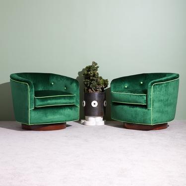 Green Swivel Club Chairs