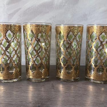 Vintage Culver Valencia Tumbler Glasses 22 carat Gold w/Green Set of 4 by PKFlamingoVintage