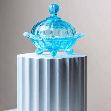 PRE-ORDER* Aqua Mosser Footed Covered Candy Dish by LivingColorfullyShop