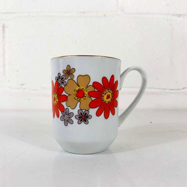 Vintage Groovy Orange Flower Power Porcelain Coffee Cup Mug Creative Japan Floral Tea Mid Century Modern Boho Flowers Dainty Cute Kawaii by CheckEngineVintage