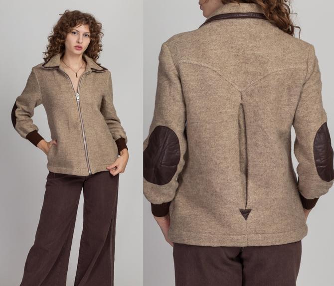 70s The Limited Tweed Zip Up Jacket - As Is - Medium | Vintage Taupe Wool Brown Leather Elbow Patch Coat by FlyingAppleVintage
