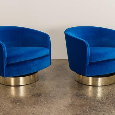 Milo Baughman Swivel Lounge Chairs by openairmodern