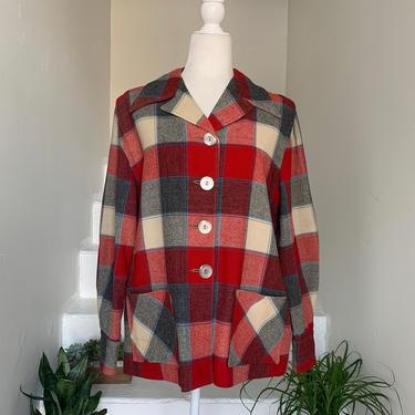 1940s Red Ivory & Grey 49er Jacket 44 Bust Vintage by AmalgamatedShop