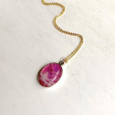 Pink Moonstone Cabochon Gemstone Pendant Two Tone Sterling and 14k Gold Fill by RachelPfefferDesigns