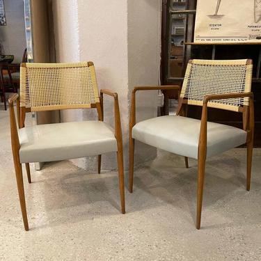 Pair Of Italian Mid Century Modern Rattan Leather Armchairs