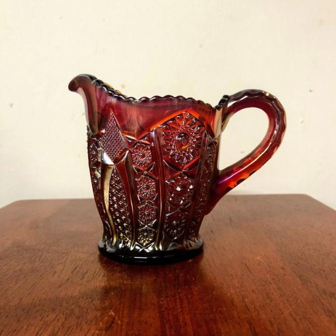 Vintage Indiana Glass Heirloom Sunset Carnival Glass Creamer by OverTheYearsFinds