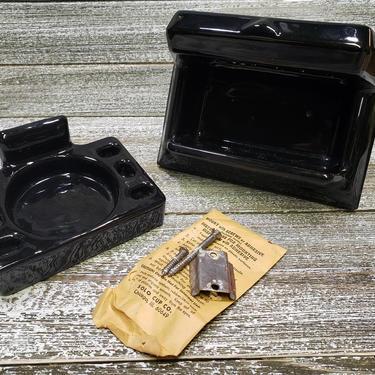 Vintage Black Bathroom Fixtures, Antique Black Porcelain Soap Dish & Toothbrush Holder, Black Glossy Bathroom Decor, Vintage Home Decor by AGoGoVintage