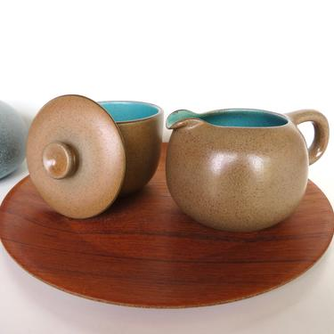 Heath Ceramics Cream and Sugar In Nutmeg and Turquoise, Edith Heath Small Pitcher and Lidded Bowl in Aqua and Brown by HerVintageCrush