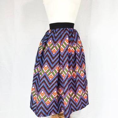 Ankara silk tea-length skirt with invisible pockets (Blue - Multi-color) by GLAMMfashions