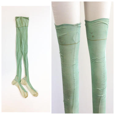 20s Silk Light Green Thigh High Stockings / 1920s Vintage Tights Hosiery Panty Hose by CheshireVintageShop