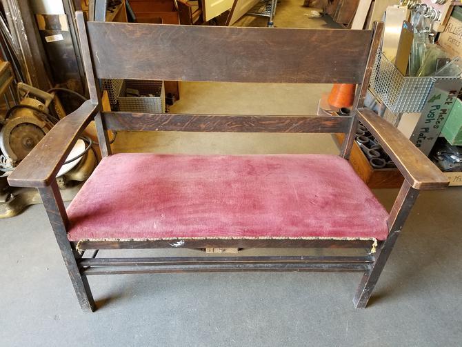 Wood and Velvet Bench