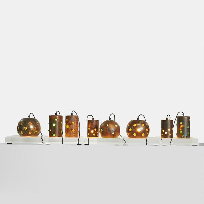 Copper and Glass Pendants by Nanny Still