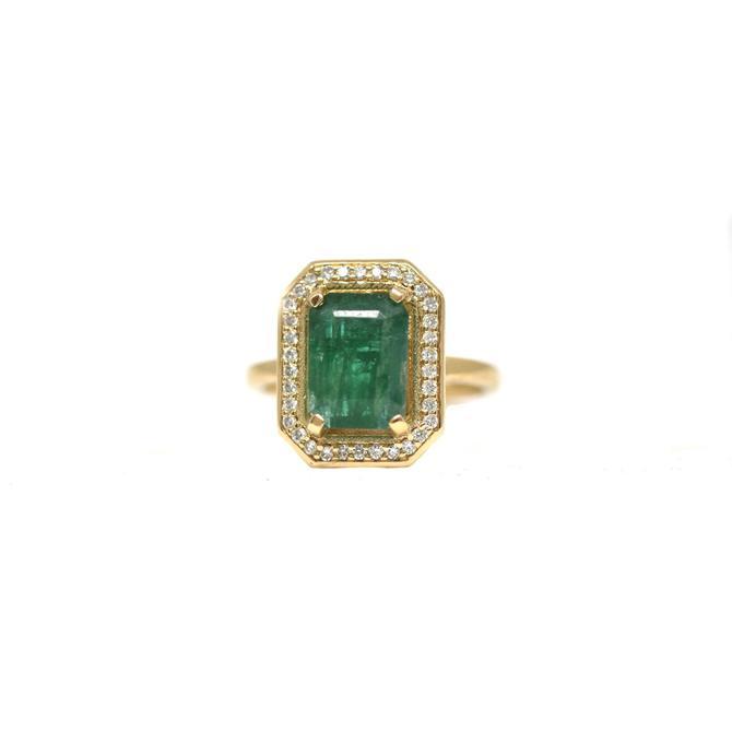 Emerald + Diamond Halo Ring