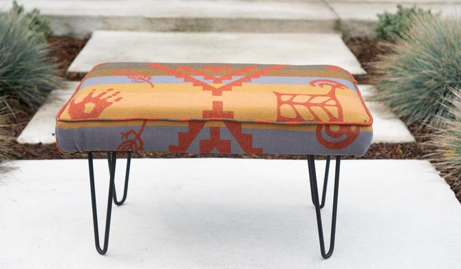 OTTOMAN/FOOTSTOOL - Made with PENDLETON Wool - Rare Out of Production Rock Art petroglyph pattern - Mid-Century Modern Hairpin Legs by CovetModernDesign