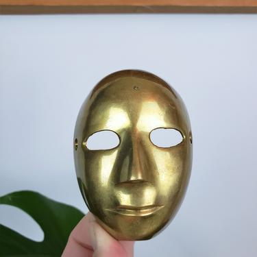Vintage Brass Theater Mask   MCM Metal Drama Face   Gold Comedy & Tragedy Mask Mold by SavageCactusCo