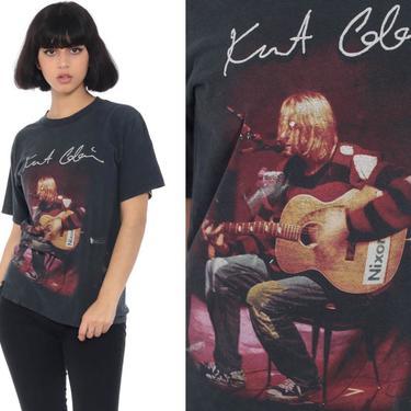 Vintage Kurt Cobain Shirt Nirvana Tshirt Distressed Band T Shirt 90s Concert Black Rock N Roll Tour ANVIL 1990s Rocker Extra Small xs by ShopExile