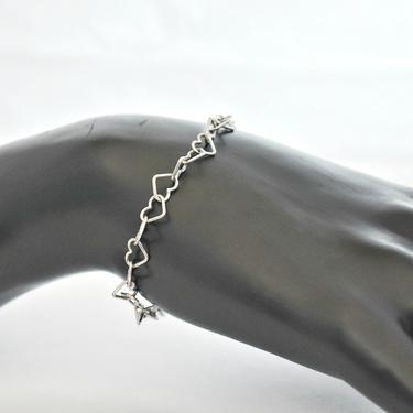 70's dainty Italy sterling wire hearts romantic hippie boho bracelet, 925 silver minimalist sweetheart open heart links chain stackable by BetseysBeauties