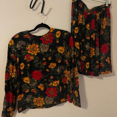 3) vintage black, red, yellow floral matching set New York and company1990s 1980s 90s 80s by GRACEandCATS