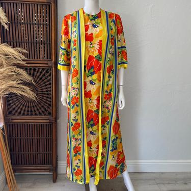 Vtg 60s floral rayon one piece dress with attached robe SM by AnimalVintageMiami