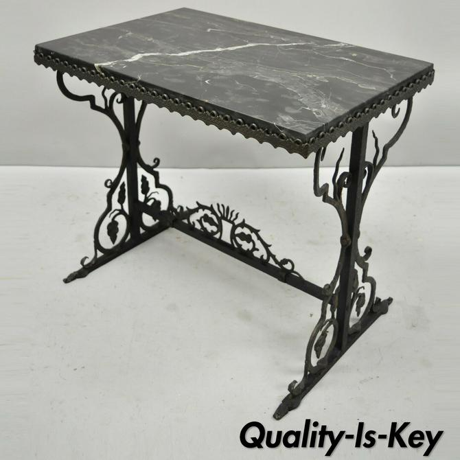 Antique French Art Nouveau Black Marble Top Wrought Iron Floral Side Table