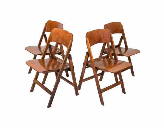 Set of 4 Vintage Mid-Century Wood Folding Chairs by PrairielandArt