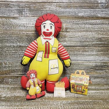 """Vintage McDonalds Toys, 1984 Ronald McDonald Plush Toy Doll 12"""" & 4"""", 1997 Miniature Old West Happy Meal, Famous French Fries, Vintage Toys by AGoGoVintage"""