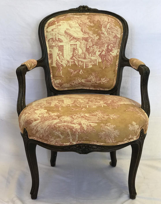 Free Shipping Within US - Newly Reupholstered- Vintage Reupholstered Sofa Chair French Import Late 19th Century Antique French Arm Chair by BigWhaleConsignment