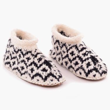 Fair Isle Knit Alpaca Slipper Black/White
