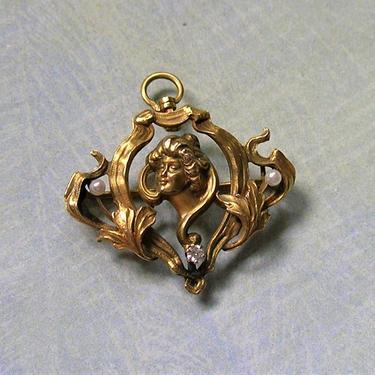 Antique 14K Gold Art Nouveau Pearl and Diamond Pin/Pendant, Old Nouveau Gold Pin, Antique Nouveau Diamond Pin, 14K Gold Pearl Pin (#3791) by keepsakejewels