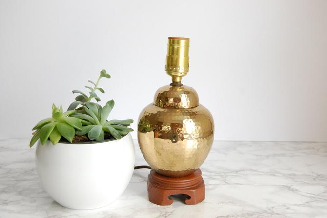 Hammered Brass Lamp Small Brass Ginger Jar Lamp India Brass Boho Lamp Wood Base by PursuingVintage1