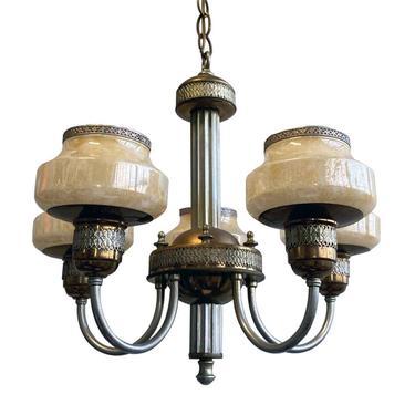 5 Light Art Deco Copper & Nickel Chandelier