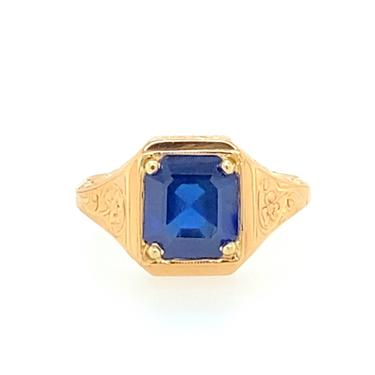 Vintage 20kt Yellow Gold & 3.7Ct Emerald Cut Sapphire Art Nouveau Ring Sz 9.5 by HouseofVintageOnline