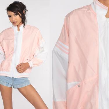 Pastel Jacket 80s Windbreaker Baby Blue Pink Cotton Striped Bomber Zip Up Warmup Jacket Vintage 1980s White Medium by ShopExile