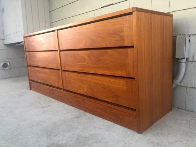 Midcentury Danish Teak 6 Drawer Dresser Credenza