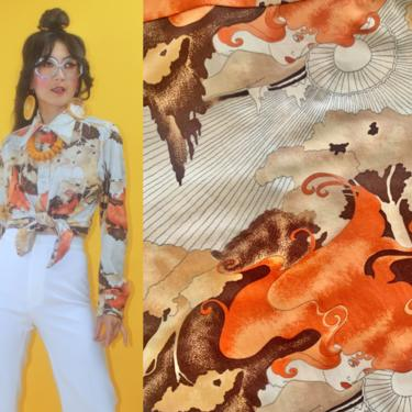 Vintage 1970s Groovy Art Nouveau Lady Face Print Dagger Collar Button Up Shirt /Fits Any Sizes/70s 1960s Deco Abstract Woman Disco Glam Boho by TheeAppleBoutique