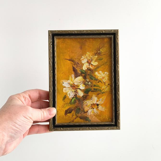 Small Vintage Floral Oil Painting, 5 x 7 Framed Original Oil Painting of Flowers on Canvas Board, Signed by PebbleCreekGoods