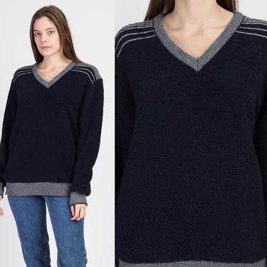 80s Navy Blue V Neck Sweater - Men's Medium | Vintage Robert Bruce Striped Pullover Jumper by FlyingAppleVintage