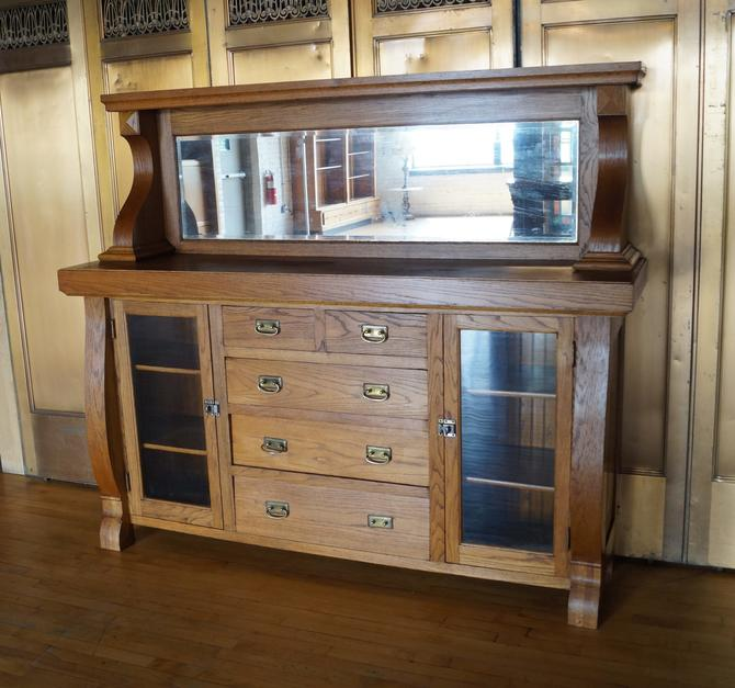 Antique Oak Buffet w Beveled Mirror