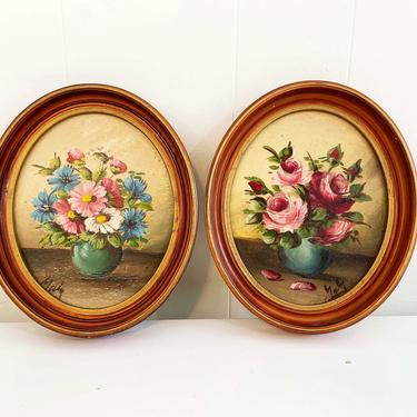 True Vintage Set of 2 Framed Floral Original Painting Art Roses Flowers Rose Wood Frame Painted Acrylic Paint Amateur Painter Peter Perazzo by CheckEngineVintage