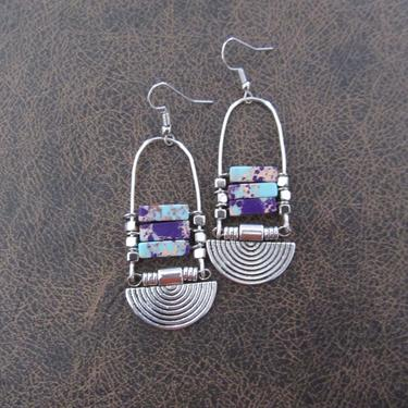 Purple imperial jasper earrings, silver tribal chandelier earrings, unique ethnic earrings, modern southwestern earrings, boho chic 2 by Afrocasian