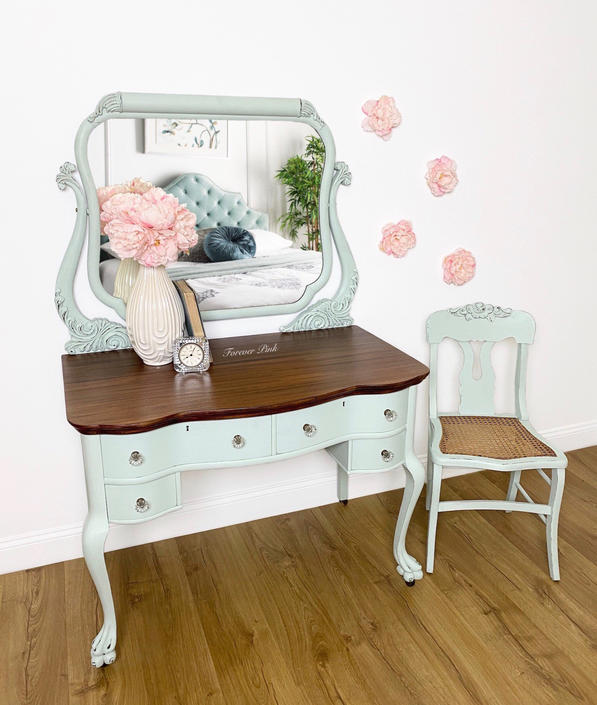 NEW - Vintage Vanity with Mirror and Chair, Antique Dressing Table, Desk, Shabby Chic Bedroom Furniture by ForeverPinkVintage