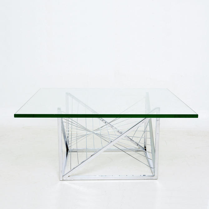 Geometric Chrome Coffee Table Sculpted Metal Work attributed Diego Matthai 1980s by AMBIANIC
